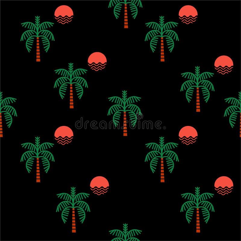 Modelo inconsútil de verano de la noche de los elementos de moda del vector Palmeras, sol, ejemplo regular del vector de la repet stock de ilustración