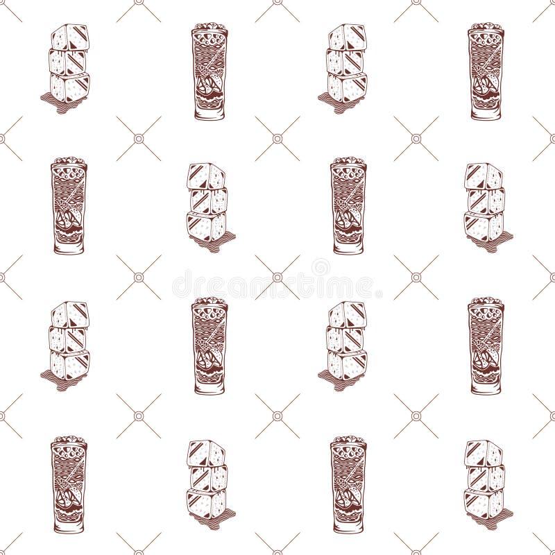 Modelo inconsútil de vidrios y de cubos de hielo stock de ilustración