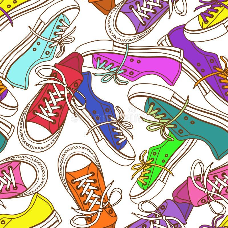 Modelo inconsútil de zapatillas de deporte libre illustration
