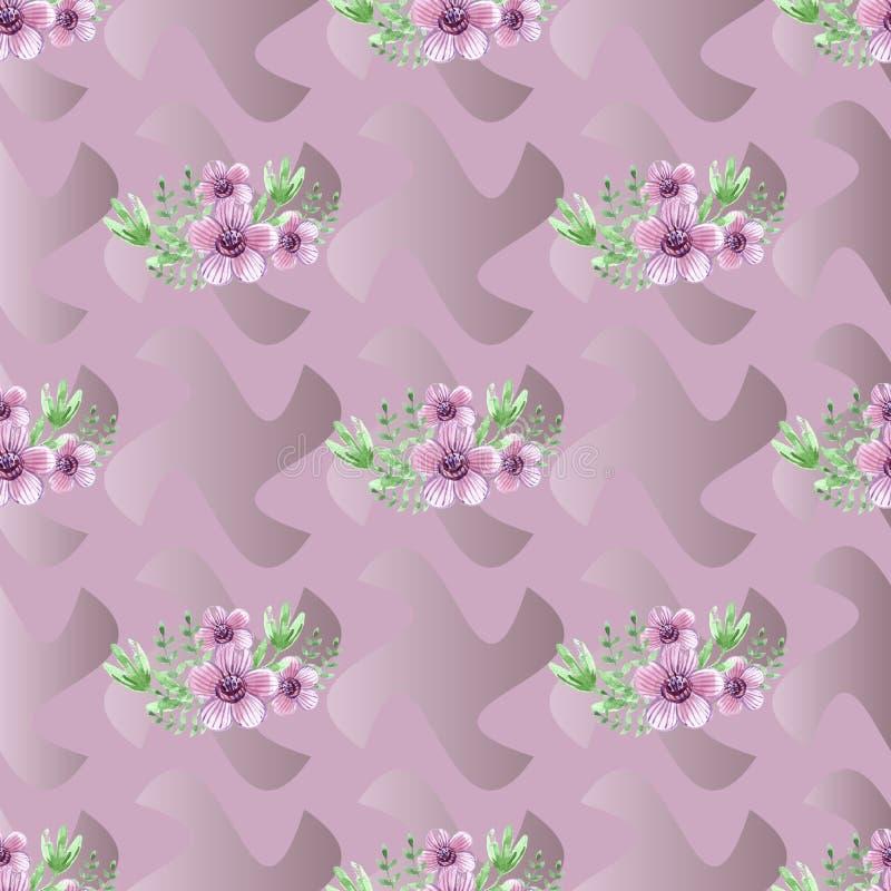 Modelo inconsútil decorativo con las flores stock de ilustración