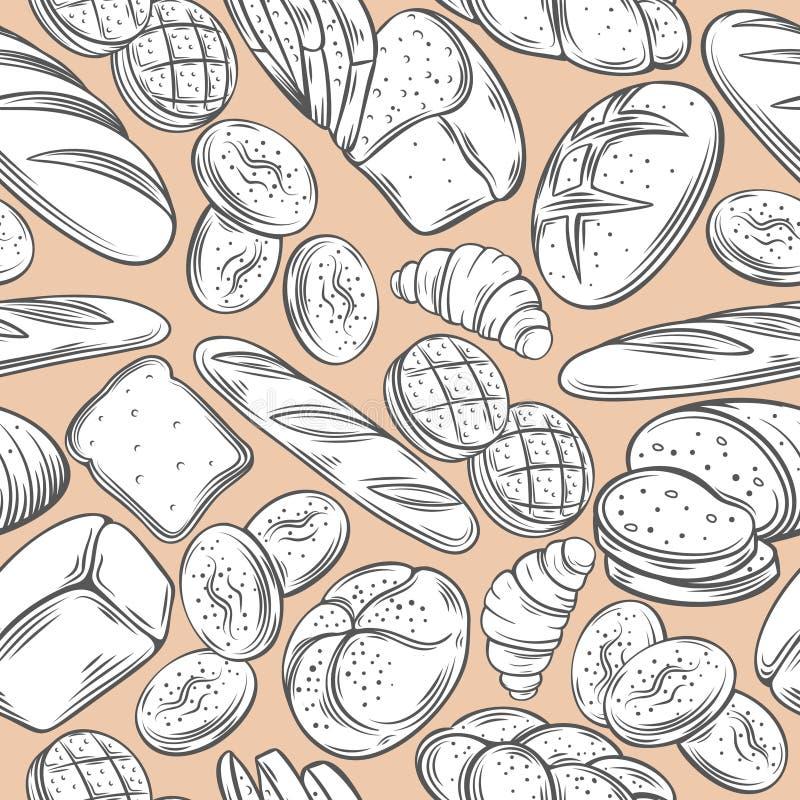 Modelo inconsútil decorativo de la panadería ilustración del vector