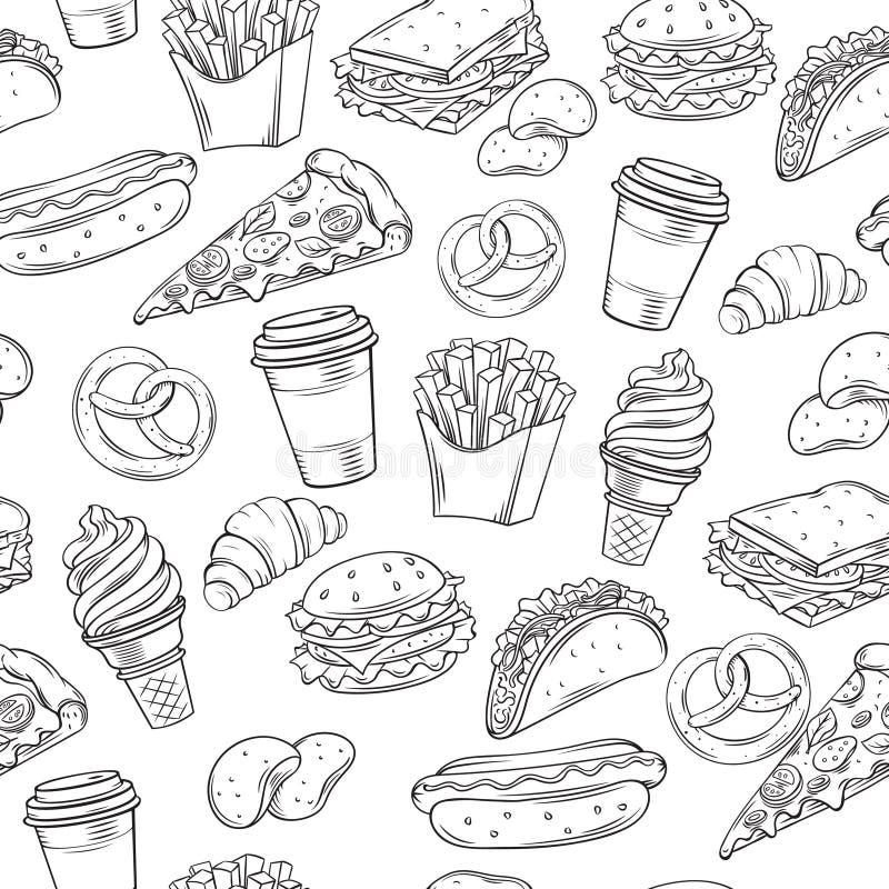 Modelo inconsútil decorativo de los alimentos de preparación rápida libre illustration