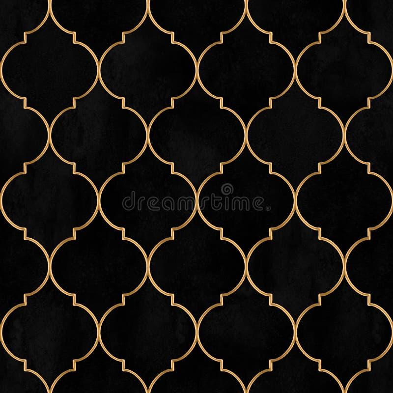 Modelo inconsútil decorativo del vintage marroquí negro de la acuarela del terciopelo ilustración del vector