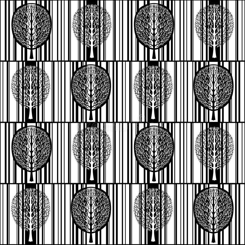 Modelo inconsútil del árbol abstracto, bosque blanco y negro estilizado, dibujo monocromático del vector del vintage Árbol adorna stock de ilustración