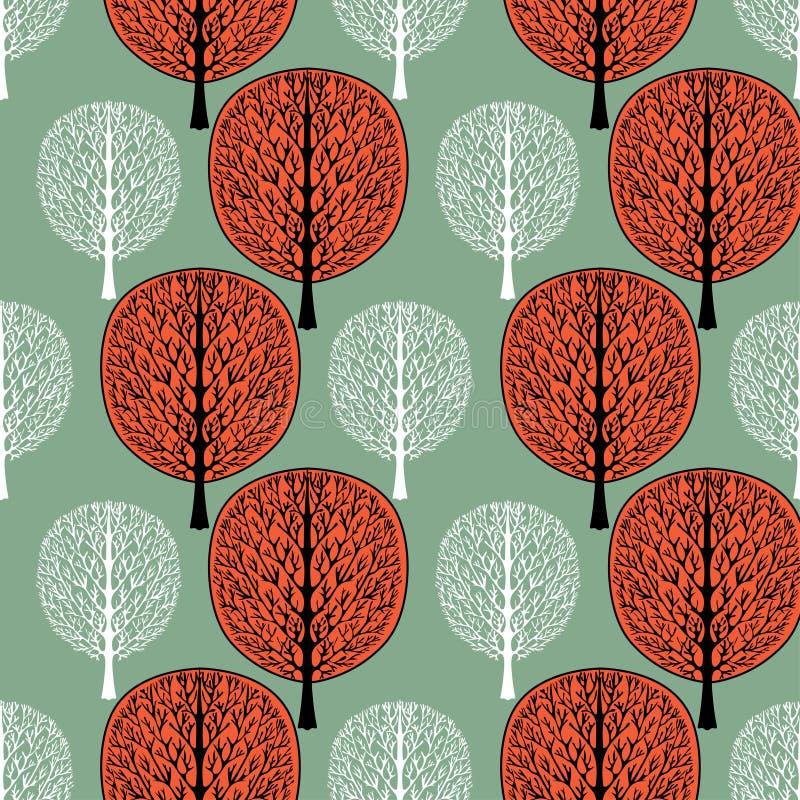Modelo inconsútil del árbol abstracto, ejemplo del vector, dibujo del vintage Árbol blanco adornado con follaje de la rama y de l ilustración del vector