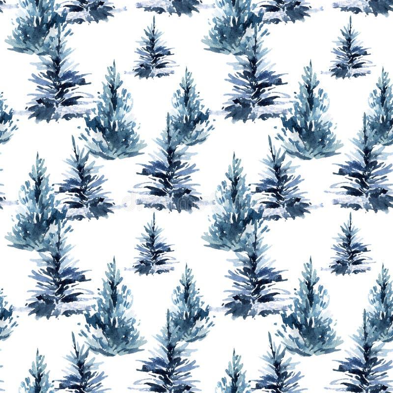 Modelo inconsútil del árbol de navidad de la acuarela stock de ilustración