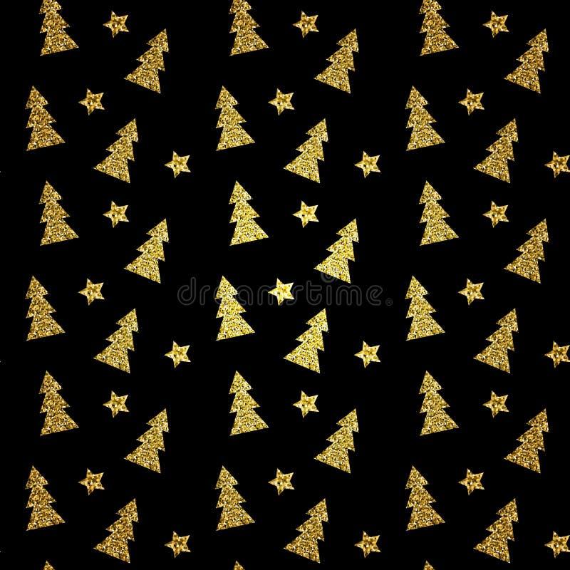 Modelo inconsútil del árbol de navidad del oro en fondo negro Ilustración del vector ilustración del vector