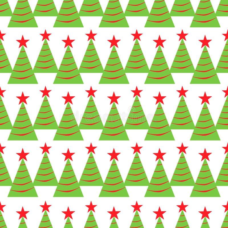 Modelo inconsútil del árbol de navidad Fondo de las vacaciones de invierno textura repetida para el papel de embalaje, Navidad y  stock de ilustración