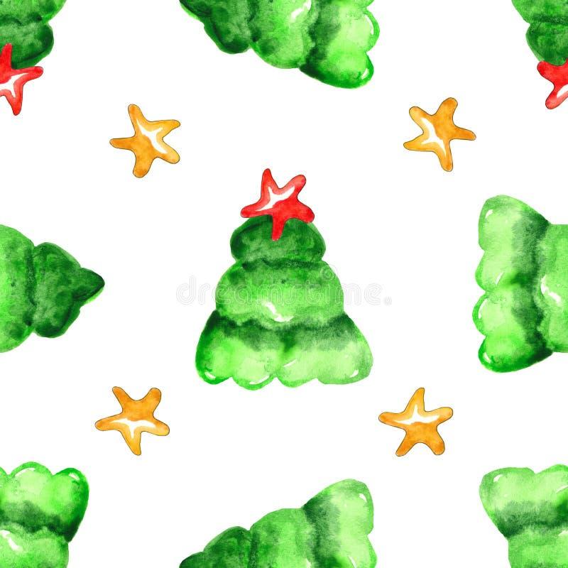 Modelo inconsútil del árbol de navidad de la acuarela libre illustration