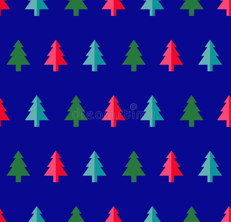 Modelo inconsútil del árbol de navidad para la tarjeta de felicitación del Año Nuevo/el fondo del papel pintado Ilustración del v libre illustration