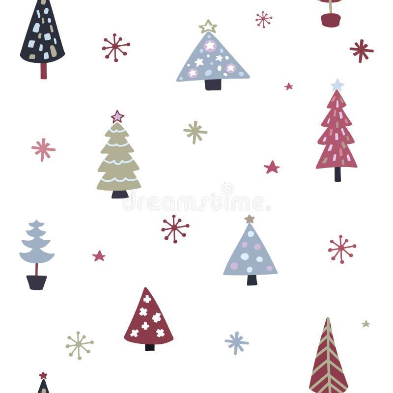 Modelo inconsútil del árbol de navidad Textura del árbol y de los copos de nieve de Navidad del garabato Diseño dibujado mano de  stock de ilustración