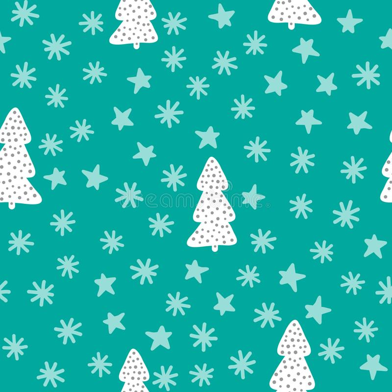 Modelo inconsútil del Año Nuevo Árboles de navidad, copos de nieve, estrellas Bosquejo, garabato, dibujado a mano stock de ilustración