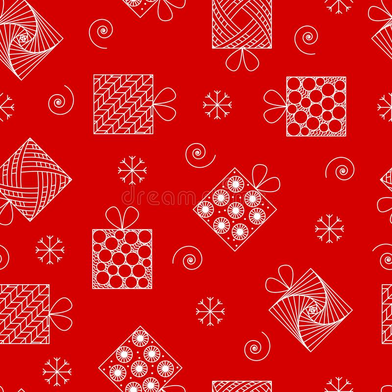 Modelo inconsútil del Año Nuevo y de la Navidad, regalos en el estilo o del zenart ilustración del vector