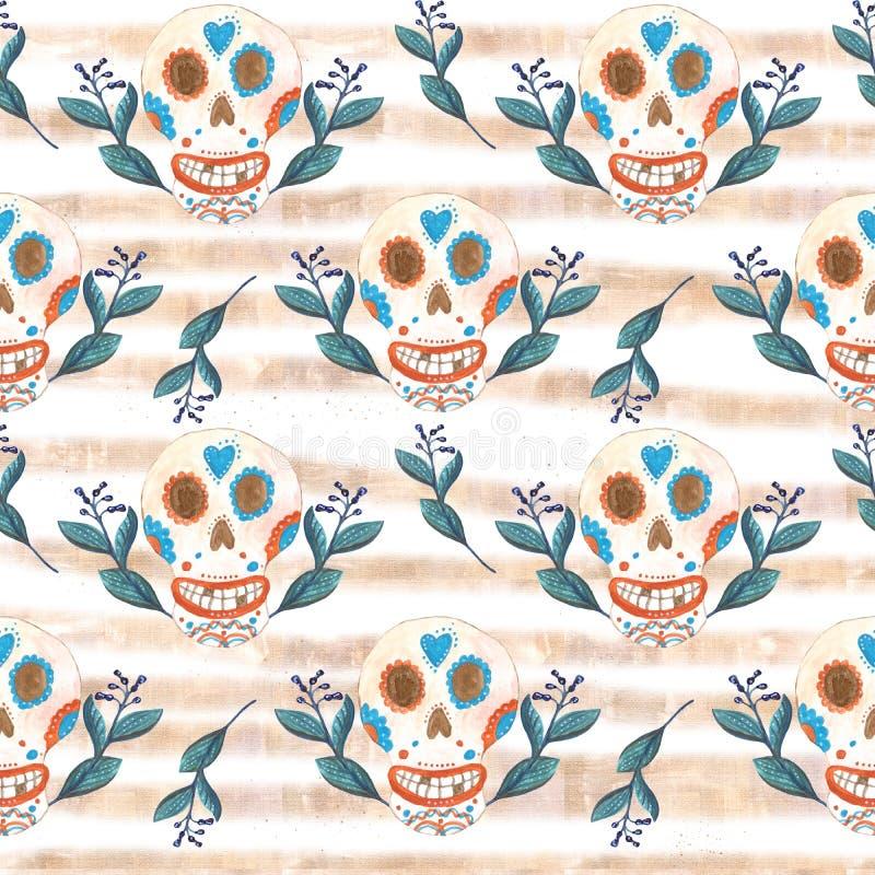 Modelo inconsútil del aguazo de cráneos mexicanos y de flores azules con las rayas de oro libre illustration