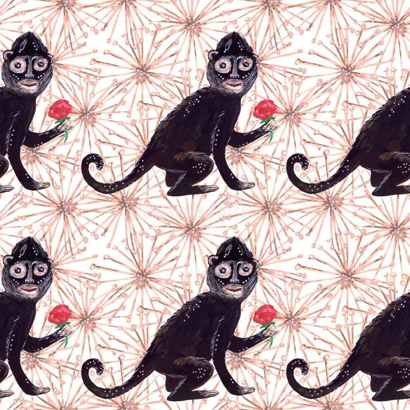Modelo inconsútil del aguazo del mono del negro de Frida y flores beige surrealistas ilustración del vector