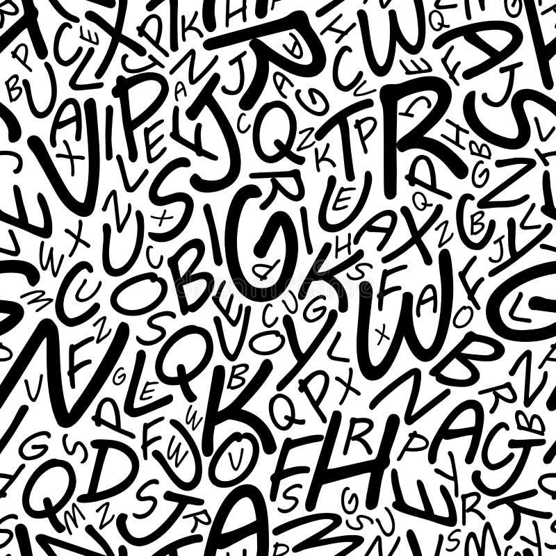 Modelo inconsútil del alfabeto en una fuente cartooned ilustración del vector