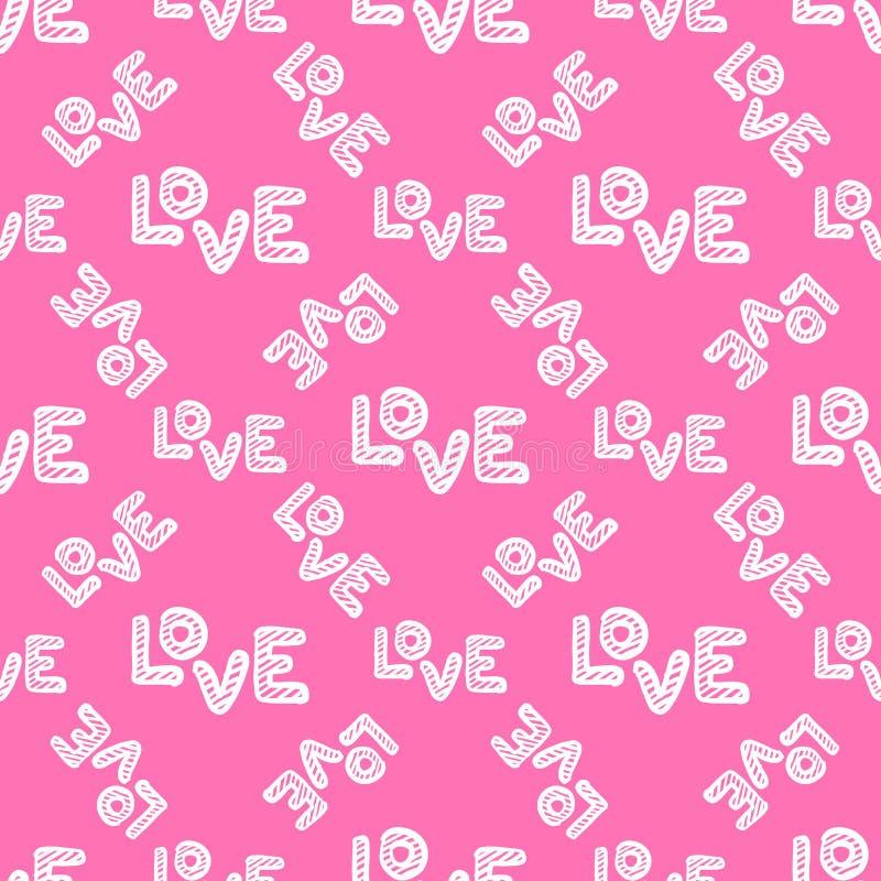 Modelo inconsútil del amor Tarjeta de felicitación feliz del día de tarjetas del día de San Valentín ilustración del vector