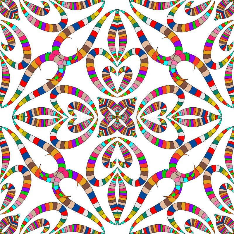 Modelo inconsútil del amor del vector rayado colorido de los corazones Fondo aislado blanco del extracto ornamental Floral exhaus libre illustration