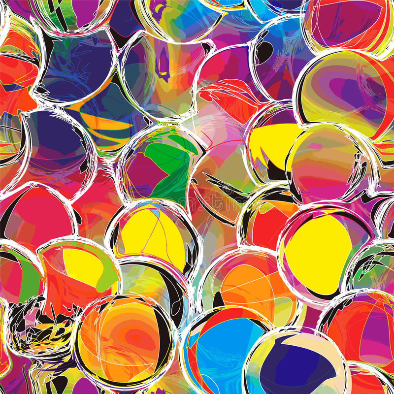 Modelo inconsútil del arco iris con los círculos del grunge ilustración del vector