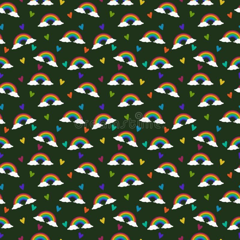 Modelo inconsútil del arco iris y de los corazones ilustración del vector