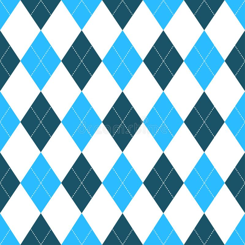 Modelo inconsútil del argyle en sombras del azul con la puntada blanca Ilustración del vector ilustración del vector