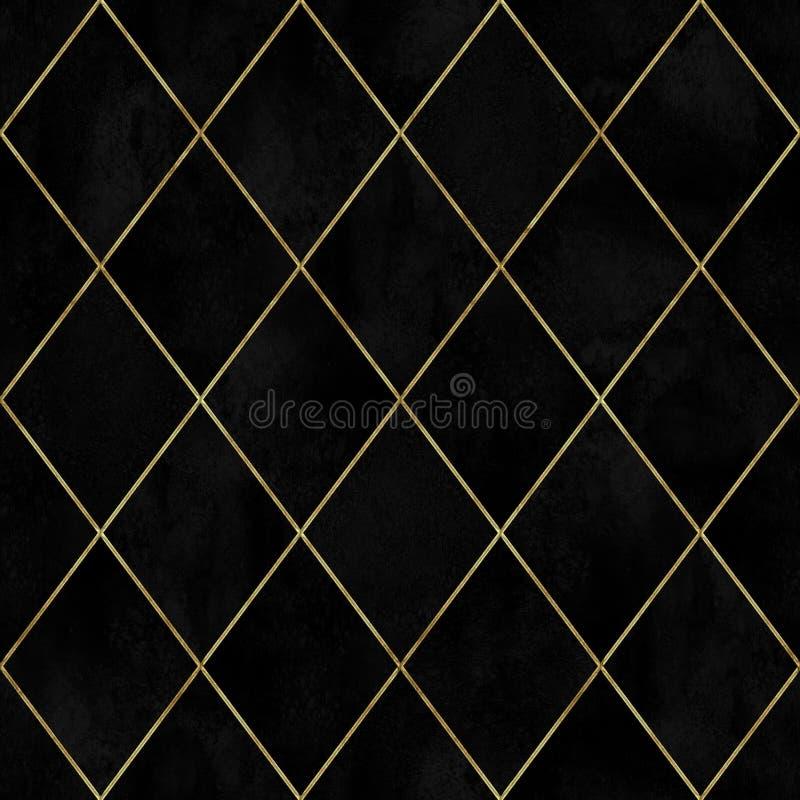 Modelo inconsútil del argyle del terciopelo geométrico negro de la acuarela imagen de archivo libre de regalías