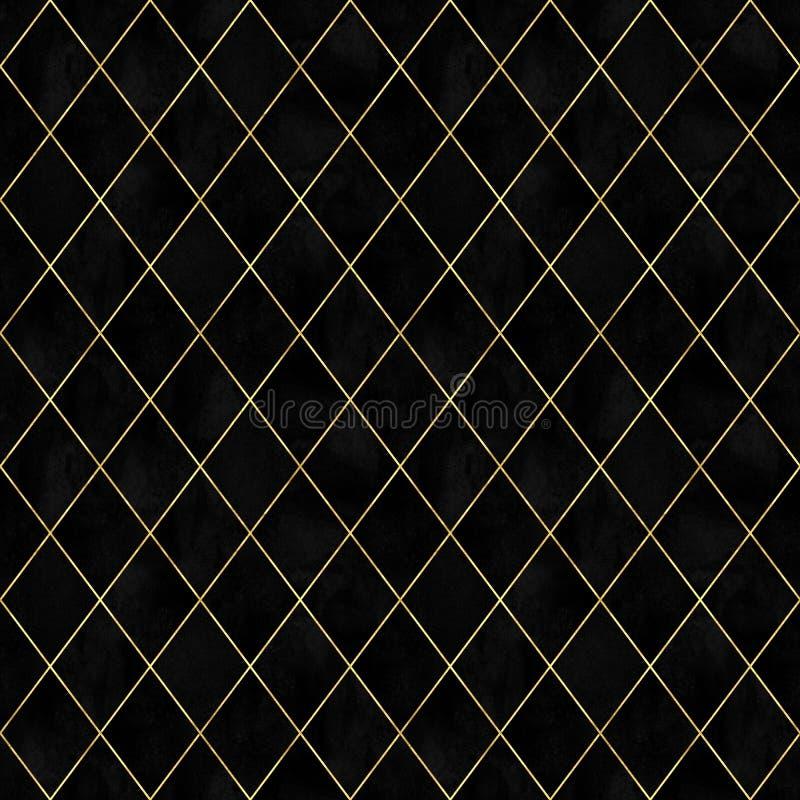 Modelo inconsútil del argyle del terciopelo geométrico negro de la acuarela libre illustration