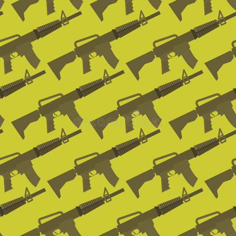 Modelo inconsútil del arma automático fondo militar ilustración del vector