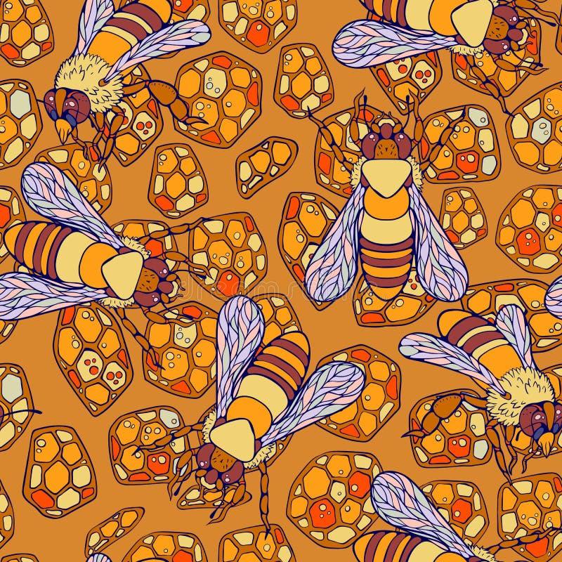 Modelo inconsútil del arrastre colorido de las abejas stock de ilustración
