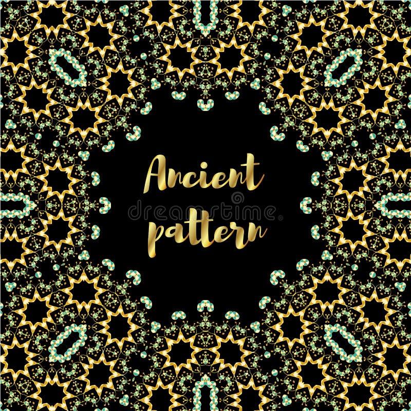 Modelo inconsútil del art déco del vector geométrico del extracto de los elementos exhaustos de la mano del oro, ornamentos étnic stock de ilustración