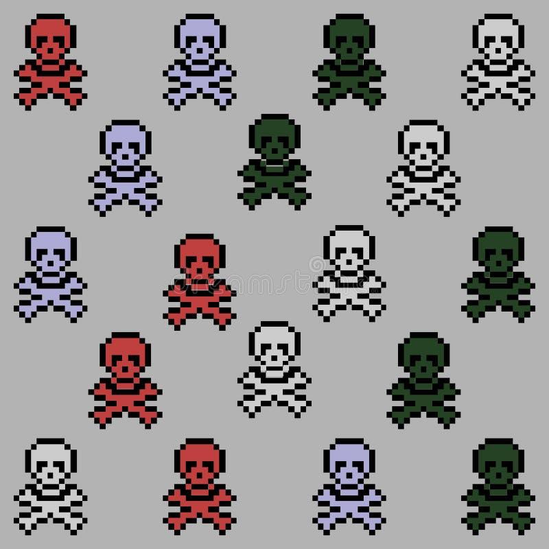 Modelo inconsútil del arte del cráneo y del pixel de los huesos libre illustration