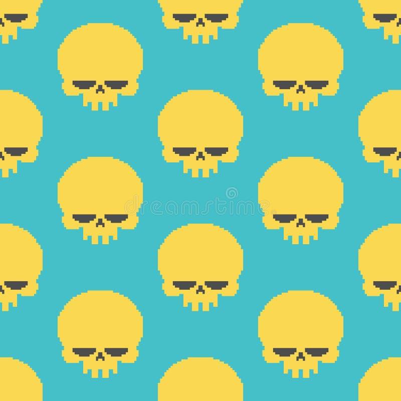 Modelo inconsútil del arte del pixel del cráneo cabeza del CCB pixelated esqueleto ilustración del vector