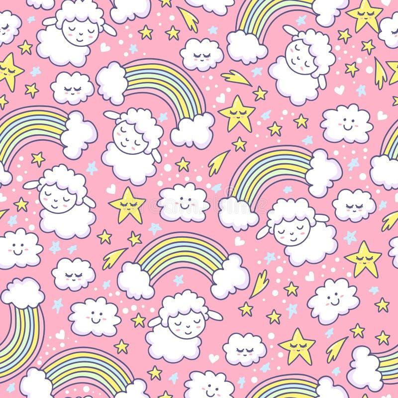 Modelo inconsútil del azúcar con las ovejas, el arco iris, la estrella y la nube libre illustration