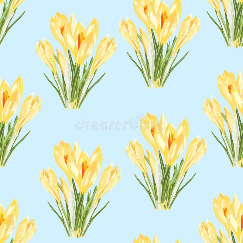 Modelo inconsútil del azafrán del ramo amarillo de las flores Ejemplo del estilo de la acuarela ilustración del vector