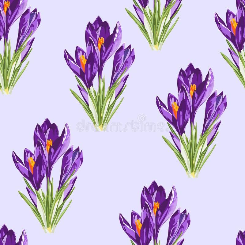 Modelo inconsútil del azafrán del ramo violeta de las flores Ejemplo del estilo de la acuarela stock de ilustración