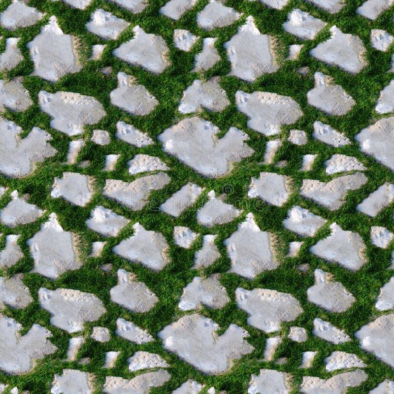 Modelo inconsútil del azulejo de la hierba y de la roca imagen de archivo libre de regalías