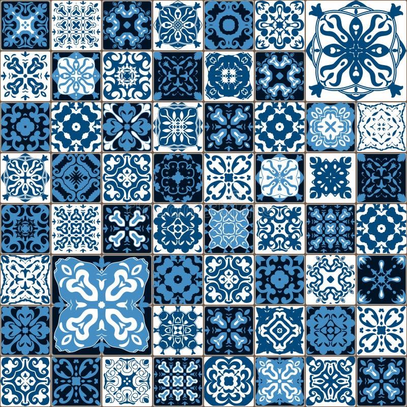 Modelo inconsútil del azulejo Lisboa colorida, modelo mediterráneo del ornamento floral Mosaico cuadrado del azul de la flor Isla ilustración del vector