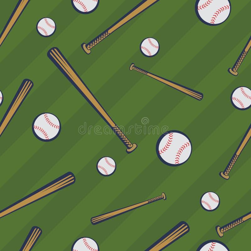 Modelo inconsútil del béisbol del color con los bates de béisbol y las bolas del béisbol en fondo verde del campo ilustración del vector