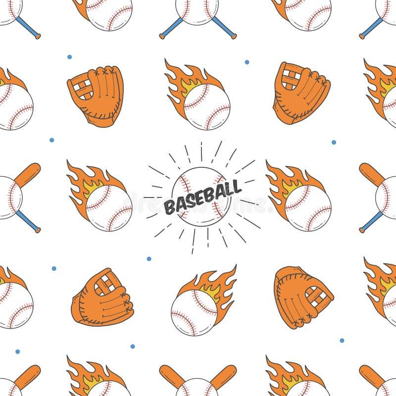Modelo inconsútil del béisbol Modelo del palo, de la bola y de los guantes libre illustration