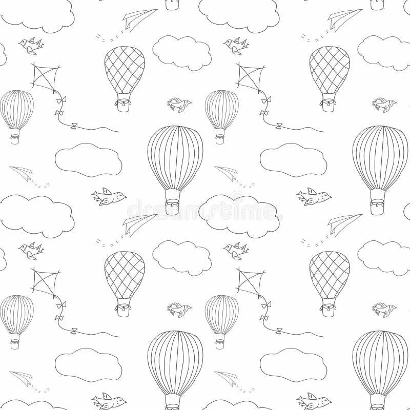 Modelo inconsútil del baloon del aire caliente imágenes de archivo libres de regalías