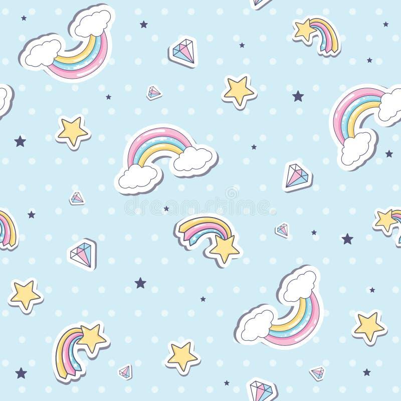 Modelo inconsútil del bebé con el arco iris ilustración del vector