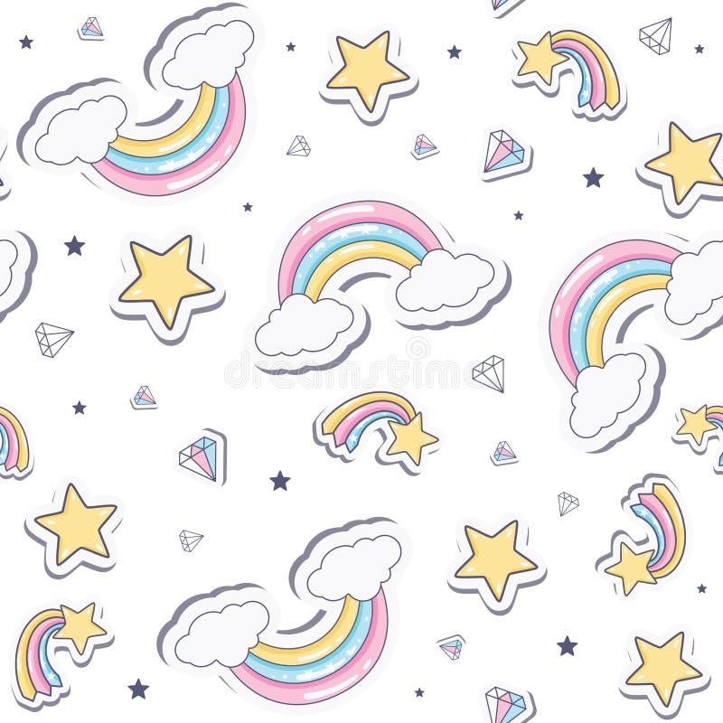 Modelo inconsútil del bebé con el arco iris stock de ilustración