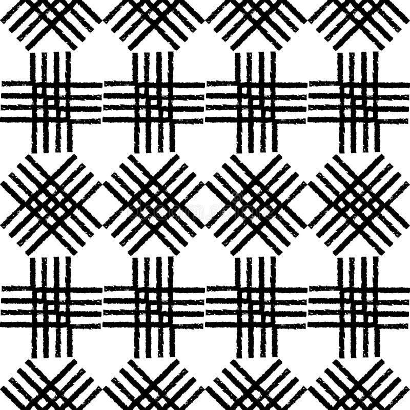 Modelo inconsútil del boho étnico blanco y negro brushwork Textura del garabato Adorno popular libre illustration