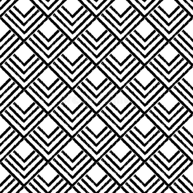 Modelo inconsútil del boho étnico blanco y negro brushwork Textura del garabato Adorno popular stock de ilustración
