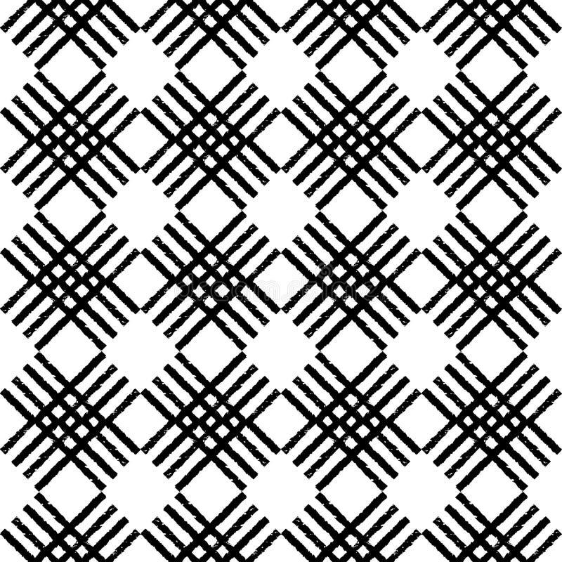 Modelo inconsútil del boho étnico blanco y negro brushwork Textura del garabato Adorno popular ilustración del vector