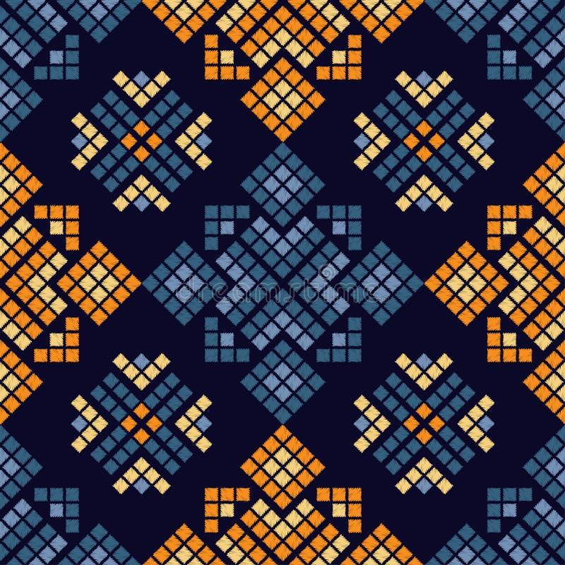 Modelo inconsútil del boho étnico Ornamento tradicional Fondo geométrico Modelo tribal Adorno popular stock de ilustración