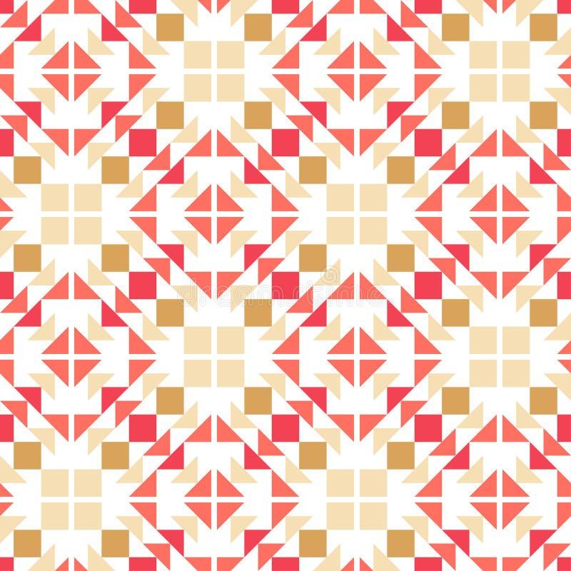 Modelo inconsútil del boho étnico Rectángulos compuestos de triángulos Ornamento tradicional Modelo tribal Adorno popular ilustración del vector