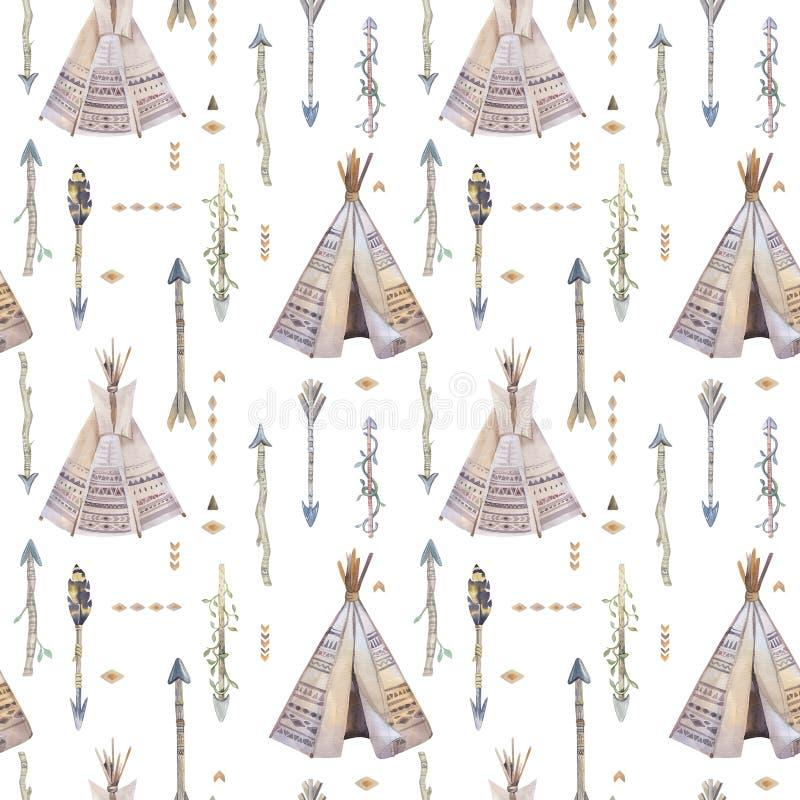 Modelo inconsútil del boho de la acuarela con la tienda de los indios norteamericanos, flechas, plumas stock de ilustración