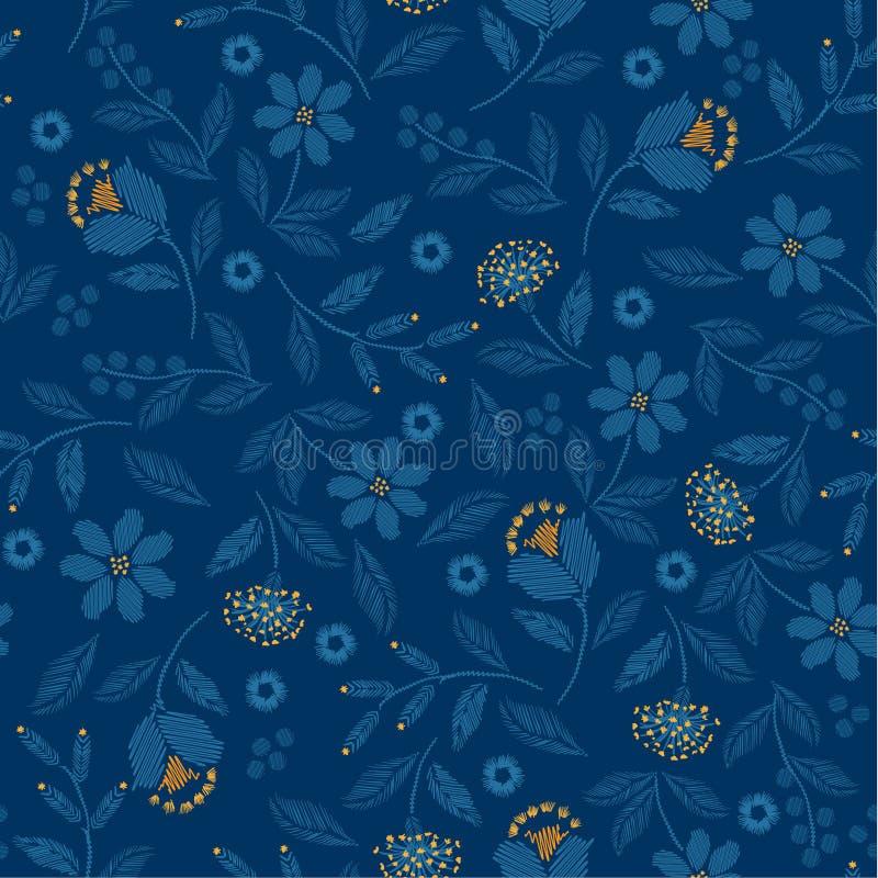 Modelo inconsútil del bordado azul monótono con el ejemplo delicado hermoso de la impresión del vector de las flores salvajes libre illustration