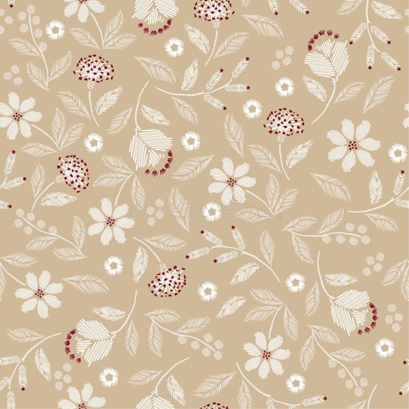 Modelo inconsútil del bordado con diseño delicado hermoso del ejemplo de la impresión del vector de las flores salvajes stock de ilustración
